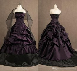 Wholesale Crystal Gothic - Victorian Gothic Prom Dress Real Photos Strapless Embroidery Ruched Taffeta Ball Dresses Lace-up Evening Dress Quinceanera Dresses 2017