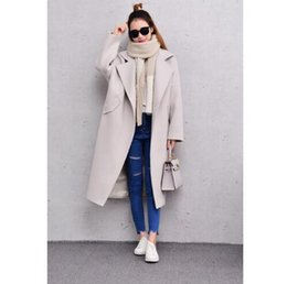 Wholesale Women Double Breasted Coats Pink - US UK CA Fashion New Manteau femme 2018 Autumn Winter Women oversized Simple large collar Wool Maxi Long Coat Classic Outerwear