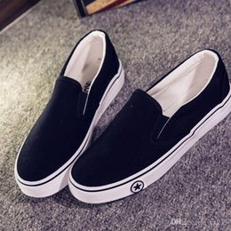 Wholesale Canvas Shoes Van - Spring and Autumn Canvas New Brand Skateboard Shoes Men Flat Shoes Slip On Casual Flat Heels Black White T011 Free Shipping VAN