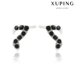 Wholesale Music Note Stud - Xuping Low Price Black Drip Stud Earrings Little Music Note Copper Ear Knot With Rhodium Plated Women Fashion Wholesale DH-17-10K0021