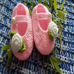 Wholesale Crochet Shoe Designs - Hot Sale 2016 New design Crochet Cotton Baby Crochet Shoes Baby Knitted Footwear Toddler shoes 0-12M First walkers shoes