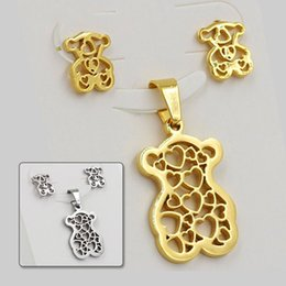 Wholesale Stainless Steel Jewelry Necklaces - new products cute Bear 18k gold plated jewelry set african fashion jewelry sets with free shipping, without chain