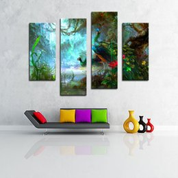 Wholesale peacock painting framed - Amosi Art-4 Pieces Two Peacocks Walk In Forest Beautiful Wall Art Painting Picture Print On Canvas Animal For Home Decor Wooden Framed