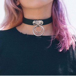 Wholesale Leather Collar Punk Choker - Black Punk Goth PU Leather Rock Dark Harajuku Double O RING Leather Collar Choker Necklace for Woman Jewelry