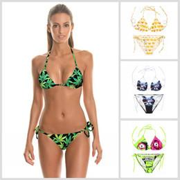 Wholesale Green Halter Bikini - Hot Sexy Green Leaves of Mariguana 3D Print Swimwear for Women Ladies Harajuku Halter Swimsuite Adjustable Cute SW684