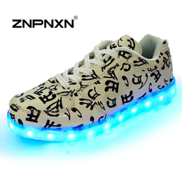 Wholesale Male Adult Sneakers - LED Shoes For Male And Female Light Up Men Casual Shoes For Adults Luminous Shoes Lace Up Sneakers For Lovers