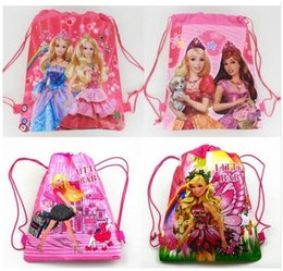 Wholesale Princess Peach Backpack - Hot !96cps Barbie Princess fashion backpack popular girls schools bags good quality canvas cartoon kids backpack Free Shipping