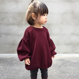 Wholesale Boutique 4t Girl - INS Baby Girls Tops Fashion Solid Colors Puffsleeve Sleeve Children Tee Shirts Autumn Spring Kids Casual Dresses Boutique Clothing C1986