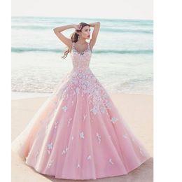 Wholesale Dresses Dentelle - 2017 vestido de noiva New Arrive Scoop Neck Pink Lace Wedding Dress Princess Bridal Dresses robe dentelle