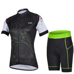 Wholesale Uv Clothing Women - 2017 Women CyclingS clothing Cheji team road bicycle clothing new style ladies black cycling jersey shirts and padded bike shorts