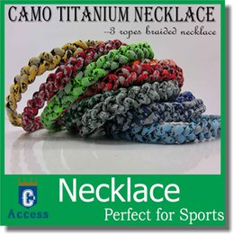Wholesale new baseball necklaces - DHL shipping 2017 New brand Baseball Camo Sports Titanium 3 Rope Braided Sport Camo Necklace 100 colors