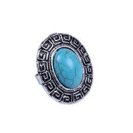 Wholesale Vintage Turquoise Engagement Rings - Vintage Look Turquoise Rings For Women Ancient Nepal Restoring Flower Carve Designs Engagement Rings