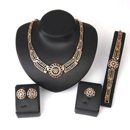 Wholesale Lion Earrings Necklace Sets - 2017 NEW Exaggerated 18 K Rose Gold Lion Crystal Jewelry Bracelet + Necklace+ Earrings+ Ring Jewelry Set