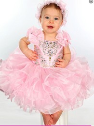 Wholesale Glitz Toddler Princess Dresses - 2016 Newest Ball Gown Pink Organza Beaded Cheap Toddler Glitz Girls Baby Baby Pageant Dresses