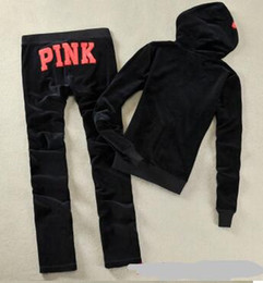 Wholesale Ladies Flannel - Ladies Sweatsuits Long Sleeve Zipper Jogging Velour Tracksuits Pink Sweat Suits Hoodies Suits SportswearSports Set Free Shipping