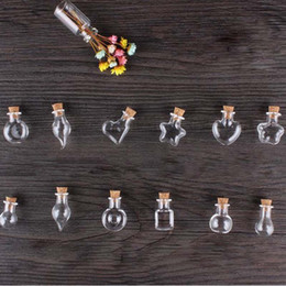 Wholesale Bottle Glass Pendant Cork - Wholesale- Mini Wood Cork Glass Bottles With Rope Arts Jars Bracelets Gifts Pendants Drift Bottle Perfume Sand Vials Mixed Shapes
