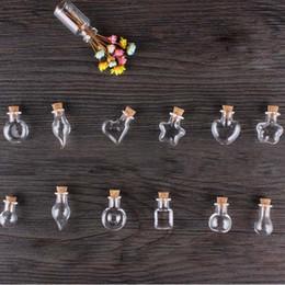 Wholesale Wood Cork Glass Vial - Wholesale- Mini Wood Cork Glass Bottles With Rope Arts Jars Bracelets Gifts Pendants Drift Bottle Perfume Sand Vials Mixed Shapes