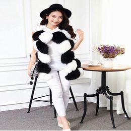 Wholesale Long Fur Coat Model - Wholesale-15 new Korean hit color black and white fox fur imports in the long coat, fur vest vest hot models