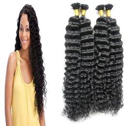 Wholesale Curly Hair Tips - Mongolian kinky curly hair 200g Keratin Human Fusion Hair Nail U Tip 100% Remy Human Hair Extensions