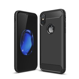 Wholesale Iphone Note - Rugged Armor Case for iPhone 8 Plus iPhone X Samsung Galaxy Note 8 with Anti Shock Absorption Carbon Fiber Design with Retail Box