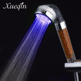 Wholesale Hand Held Shower Water Filter - Wholesale- Xueqin Water Saving Colorful LED Light Bath Showerhead Anion SPA Hand Held Bathroom Shower Head Filter Nozzle