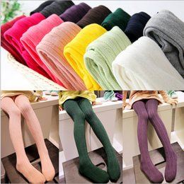 Wholesale Knitted Leggings For Girls - Wholesale-4 sizes for 2~10 years Baby girls Tights Breathing Cotton Brief Candy Color Twill Knitting Pantyhose High-quality Ten Colors