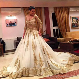 Wholesale Traditional Long Sleeve Wedding Dress - African Traditional 2017 Wedding Dresses Gold Applique Beaded Formal Long Sleeves Bridal Gowns Organza Sweep Train Arabic Vestidos