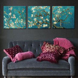 Wholesale Realist Painting - Three Pieces Wall Art Realist Apricot Blossom Figure of Van Gogh's Works of Painting is Printed on Canvas For Home Decoration