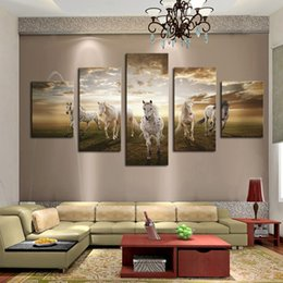 Wholesale Sun Painting Modern Art - Fashion 5 Panels Large Size White Horse pattern sun prairie mural View Modern Creative Decoration Paintings Wall Art Picture Modern Home Dec