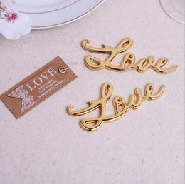 Wholesale Letter Opener Wedding Favor - Wholesale- 1Pcs Gold Letter Love Bottle Opener Wedding Favors And Gifts Event Party Supplies Souvenirs For Guests Bridal Shower Gift