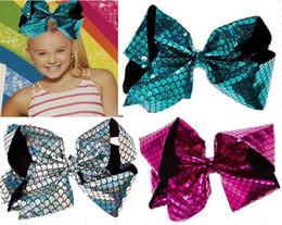 Wholesale Red Mermaid Hair - OUTLETS ! 8INCH JoJo Siwa Turqouise Holographic Mermaid Hair Bow Dance Hair Bows Cheerleader Bow TEENS GIRLS 16PCS