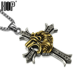 Wholesale Two Tone Gold Necklace Men - HIP Punk Titanium Stainless Steel Two Tone Gold Color Lion Animal King Cross Pendants Necklaces for Men Jewelry