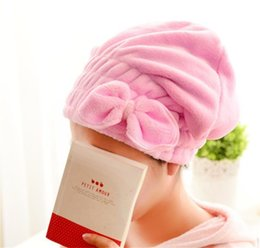 Wholesale bathroom towel colors - Dry Hair Shower Cap Water Uptake Candy Colors Lady Coral Velvet Bowknot Towel For Home Bathroom Articles 3 2rl C R