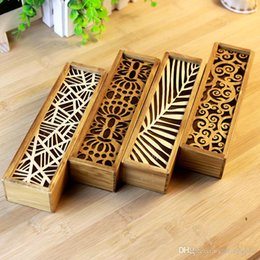 Wholesale Wooden Pencil Boxes Wholesale - 100pc 2016 South Korea creative stationery lace hollow wooden pencil case, pencil box multifunction students Free Shipping 1558