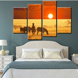 Wholesale Zebra Print Wall Decor - 4 Piece Home Decor Painting Wall Decoration of The Zebra Animal Walk on Sunset Grasslands Zebra Oil Painting Canvas Print for Living Room