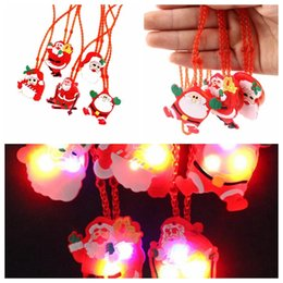 Wholesale Flash Ornament - Christmas LED Necklace Flashing Light Santa Claus Chain Necklace Pendant Jewelry Kid Gift Pendant Party Xmas Decorations KKA3481