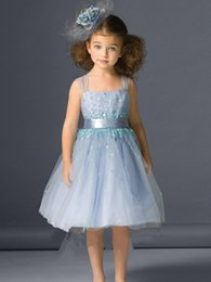 Wholesale Burgundy Color Accents - 2017 Light Blue Adorable Sheer Straps Knee-length Flower Girls' Dresses With Beads Sequins and Sash Accent Nice A-Line Tulle Kids Gowns