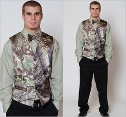 Wholesale Tuxedos For Men Green - 2016 Hot Green Camo Mens Vest with Four Buttons Tuxedo Vests for Men Suit Camouflage Custom Mens Wedding Vest for Groom   Groomsmen