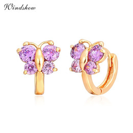Wholesale Baby Gold Jewelry For Girls - Wholesale- Windshow Cute Colors AAA CZ Butterfly Small Huggie Hoop Earrings for Girls Kids Children Baby Yellow Gold Color Animal Jewelry