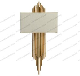 Wholesale Fabric Switches - NEW E14*2 metal pipe copper wall lamp indoor lighting bedside lamps wall lights for home decorative wall sconce H95CM*W45CM MYY