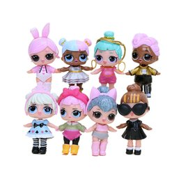 Wholesale Doll American Girls - 8pcs lot Surprise Girls Doll LOL American PVC Kawaii Children Toys Anime Action Figures Realistic Reborn Dolls Gifts for Kids