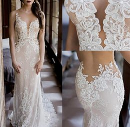 Wholesale Custom Fit Flare Dresses - 2016 Modest Fit and Flare Wedding Dress Sexy Sheer Bling Pearls Lace Applique Jewel Neck Elegant Ivory Mermaid Illusion Country Bridal Gowns