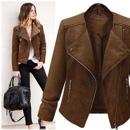 Wholesale Leather Jacket Women Xxl - Wholesale- High Quality Snake Skin Zipper Rider Leather Jackets 2016 Long Sleeve Suede Coat for 5XL-XXL Plus Size Women Outerwear Feminina