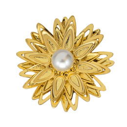 Wholesale Cheap Real Jewelry For Women - AD161-A Luxury Brand Large Real White Pearl Brooches For Women Wedding Dress Jewelry 2016 Cheap Gold Plated Alloy Lotus Flower Brooch Pins