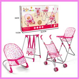 Wholesale Plastic Swing Set - 4 in 1 Baby Children Foldable High Dinning Chair Swing Chair Stroller Cot Bed Dolls Toys Set Gift box Pretend Play funiture Toys