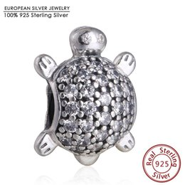 Wholesale Pandora Turtle Charm - Clear CZ Sea Turtle Charm Beads Fits Pandora Bracelets 925 Sterling Silver Sea Turtle Animal Bead Diy 2016 Summer Jewelry Making
