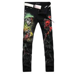 Wholesale Black Denim Print Legging - Wholesale-2016 new fashion straight leg jeans long men male printed denim pants cool cotton designer good quality brand trousers MJB016
