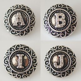 Wholesale Alphabet Fit Bracelet - 20mm English Alphabet Snaps Button Jewelry A to J Fit Ginger Snaps Jewelry From Partnerbeads KB6254-63