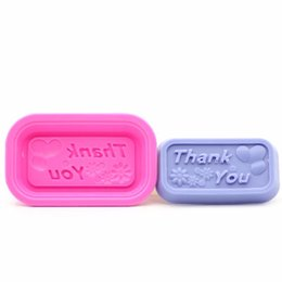 """Wholesale Silicone Candle Mold Cake - 500pcs """"Thank you"""" Word Design Soap Mold Silicone Chocolate Soap Mould DIY Pattern Cupcake Craft Candle Mold ZA0591"""