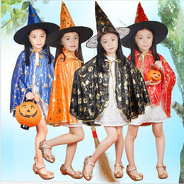 Wholesale Teenage Girls Yellow Dresses - Wizard Witch Cloak Robe Cape Costume for Kids Child Halloween Christmas Party Carnaval Cosplay Boy Girl Dress with Hat
